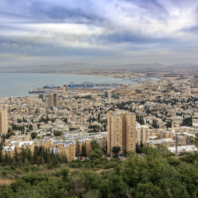 """""""Panoramic view from Mount Carmel to cityscape and port in Haifa"""" stock image"""