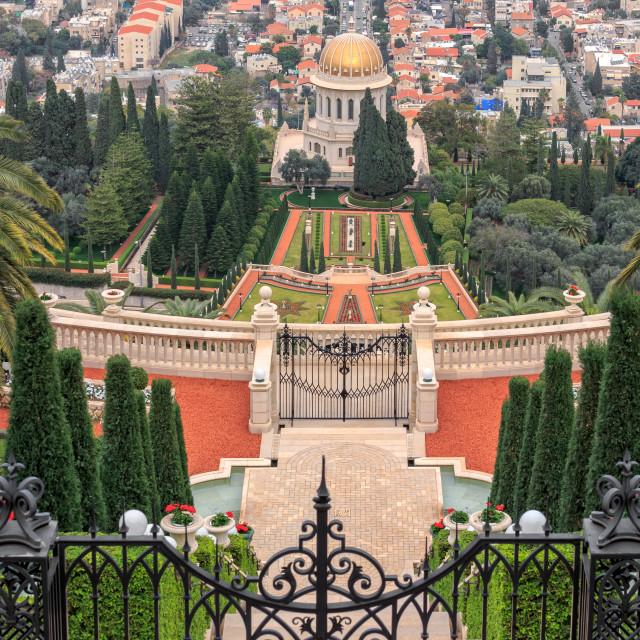 """Top view of the Bahai Garden."" stock image"