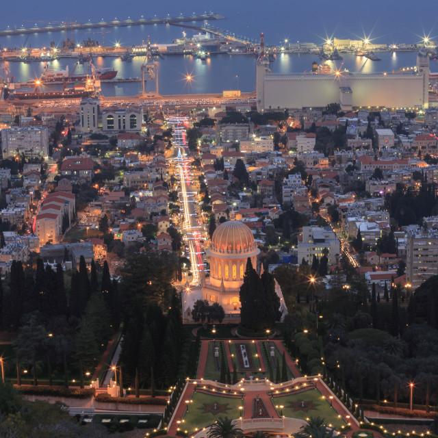 """Evening view of the Bahai Garden and Haifa"" stock image"