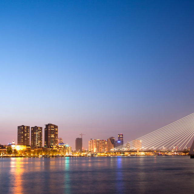 """Erasmus Bridge in Rotterdam at Dusk"" stock image"