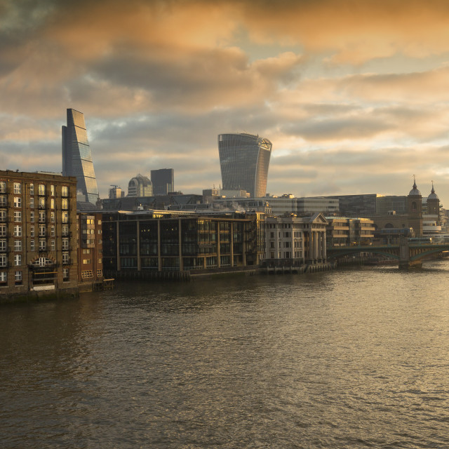 """Sunrise on the River Thames"" stock image"