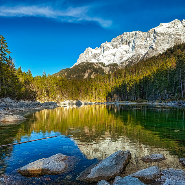 """Frillensee lake and Zugspitze - the highest mountain in Germany"" stock image"