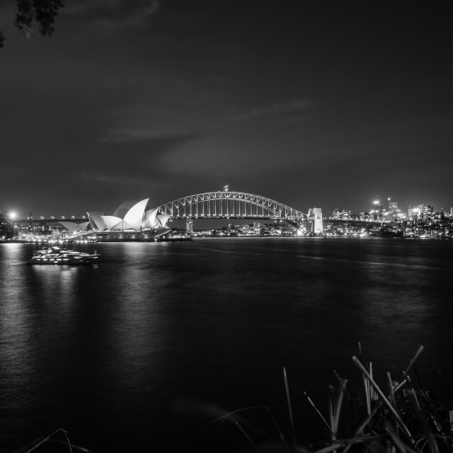 """Black and white photo of Sydney Harbour at Night"" stock image"