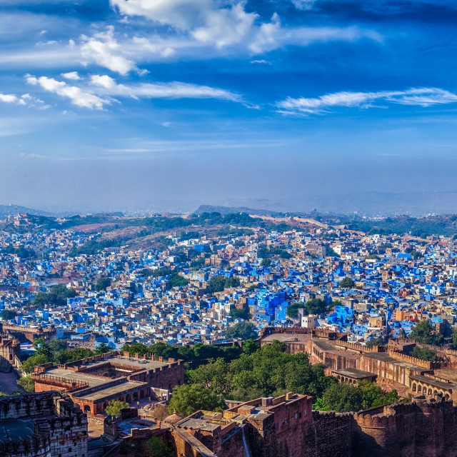 """Panorama of Jodhpur Blue City. Rajasthan, India"" stock image"