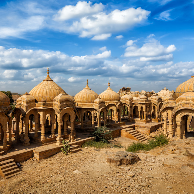 """Bada Bagh cenotaphs in Jaisalmer, Rajasthan, India"" stock image"