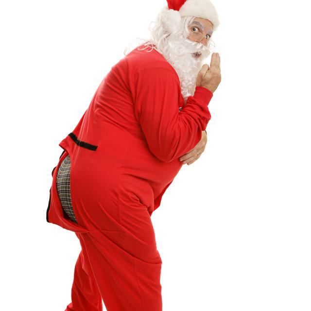 """Santa in Pajamas - Ooops!"" stock image"