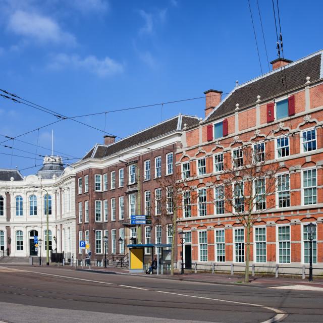 """""""Kneuterdijk Street in Den Haag"""" stock image"""