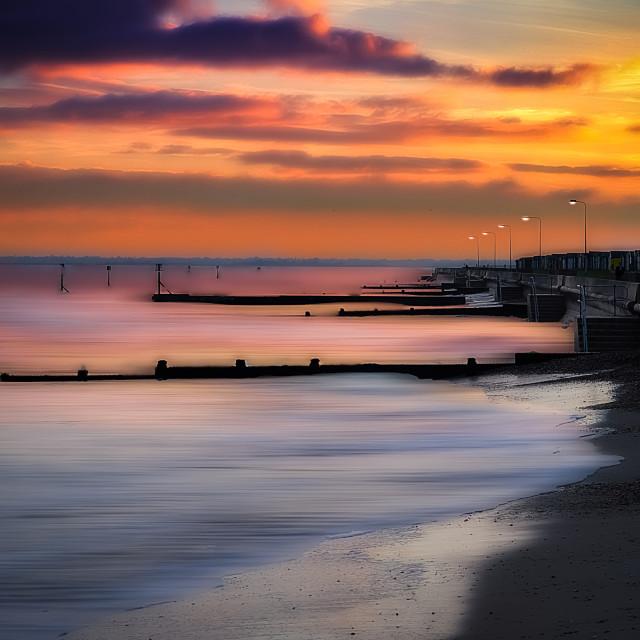 """""""Sunset at Dovercourt Beach"""" stock image"""