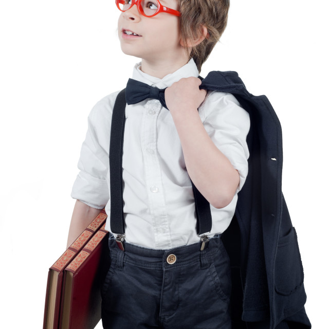 """Child student looking up"" stock image"