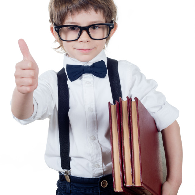 """Child student with books and glasses isolated"" stock image"