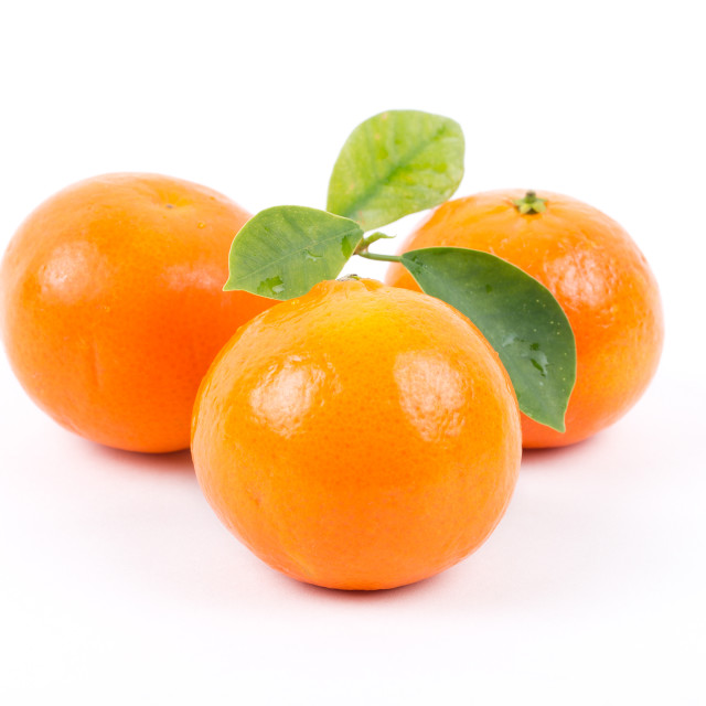 """""""Tangerines with leaves"""" stock image"""