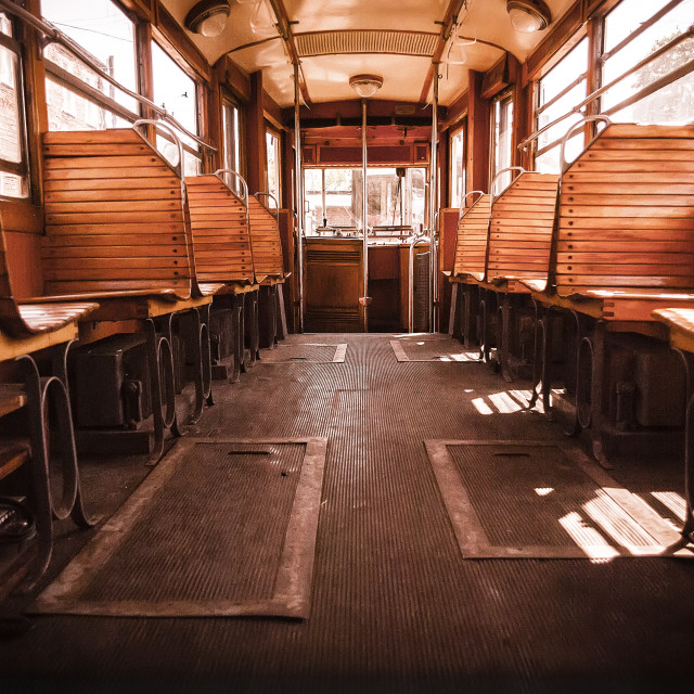 """""""Old interior of a tram"""" stock image"""