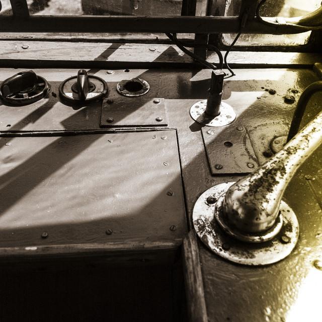 """Steering wheel of antique tram"" stock image"