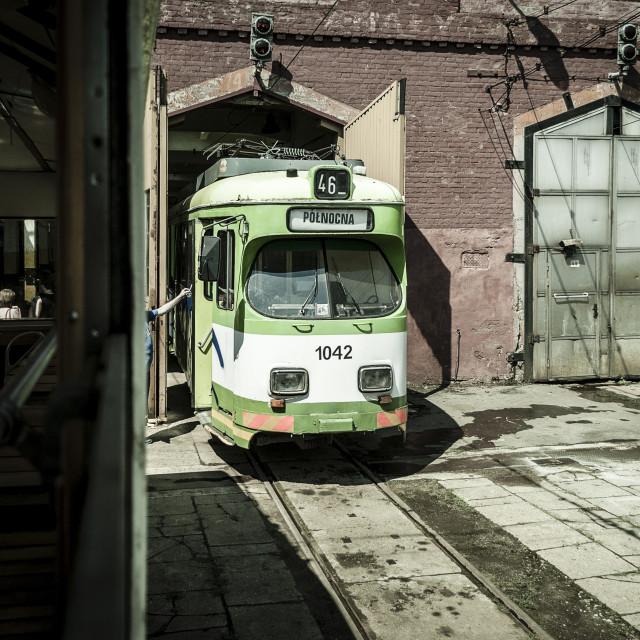 """""""Antique tram in terminal"""" stock image"""