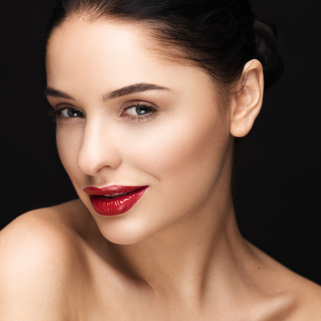 """""""Portrait of Beautiful Young Woman with red lips."""" stock image"""