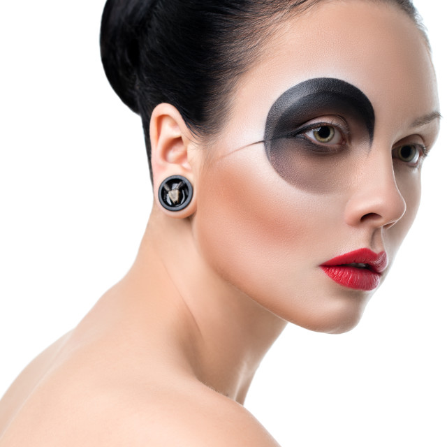 """""""Close-up of beautiful woman face with Creative Fashion Art make up."""" stock image"""