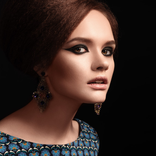 """""""Retro Woman Portrait. Retro Hairstyle and Make-up."""" stock image"""