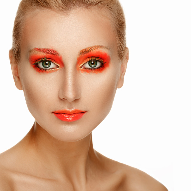 """""""Beautiful Model Woman Face with bright orange makeup"""" stock image"""