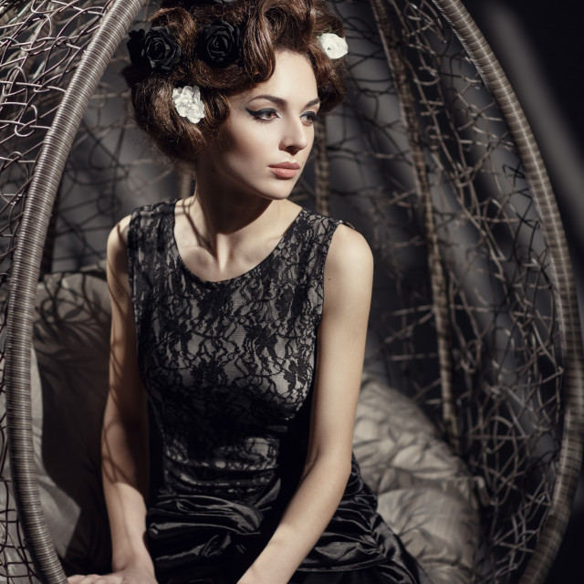 """Retro portrait of a beautiful woman"" stock image"