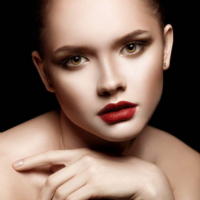 """""""Portrait of Beautiful Young Woman with perfect make-up."""" stock image"""