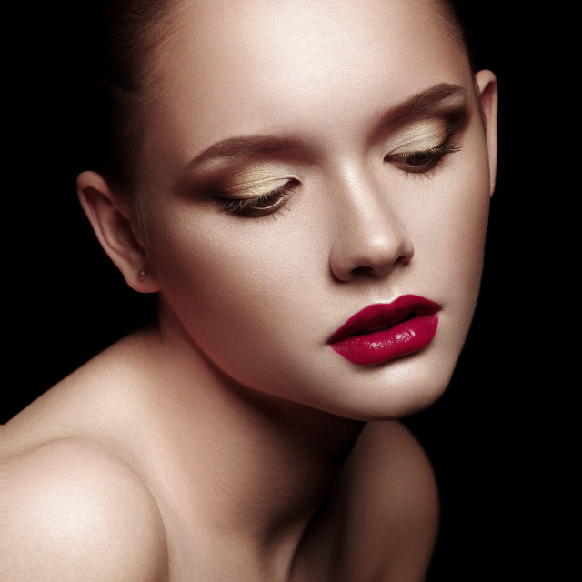 """""""Portrait of Beautiful Young Woman with perfect bright make-up over black..."""" stock image"""