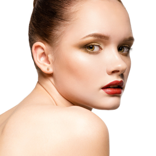 """""""Beauty Girl. Portrait of Beautiful Young Woman with perfect make-up."""" stock image"""