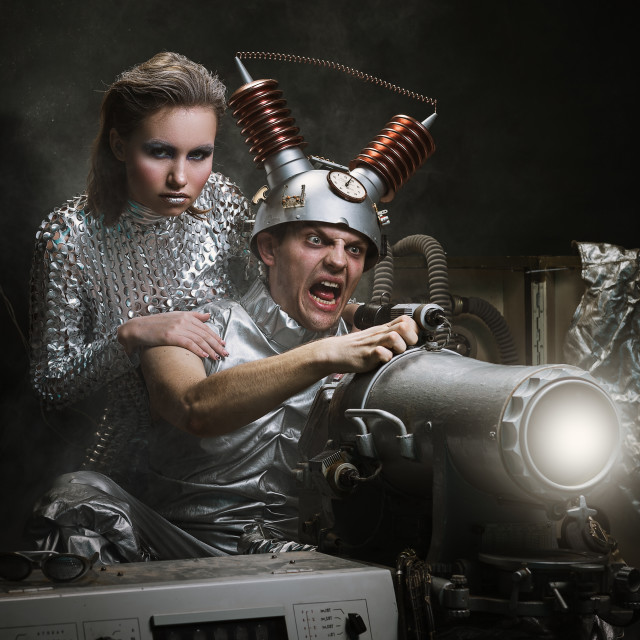 """""""Cyberpunk. Future. Fantasy story. Couple shot from the weapon of the future"""" stock image"""