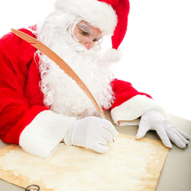 """Santa Writing List on Parchment"" stock image"