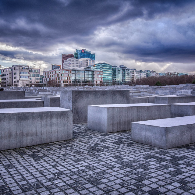 """""""Berlin Cityscape - Memorial to the Murdered Jews of Europe"""" stock image"""