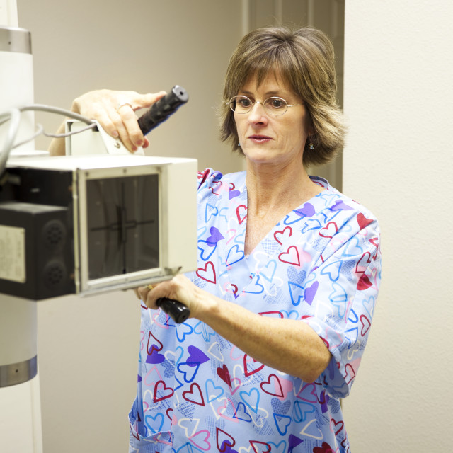 """""""Radiology Technician with X-Ray"""" stock image"""