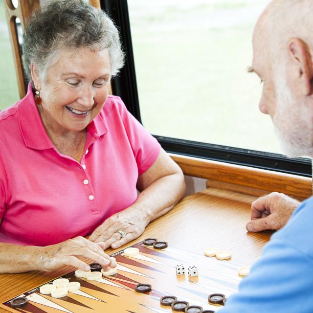"""RV Seniors Play Board Game"" stock image"