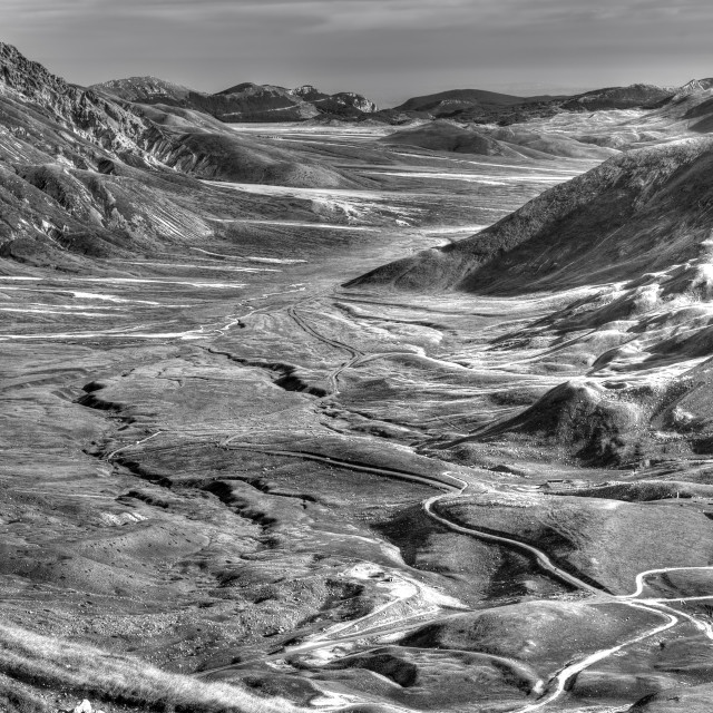 """Campo Imperatore Abruzzo Italy black and white"" stock image"