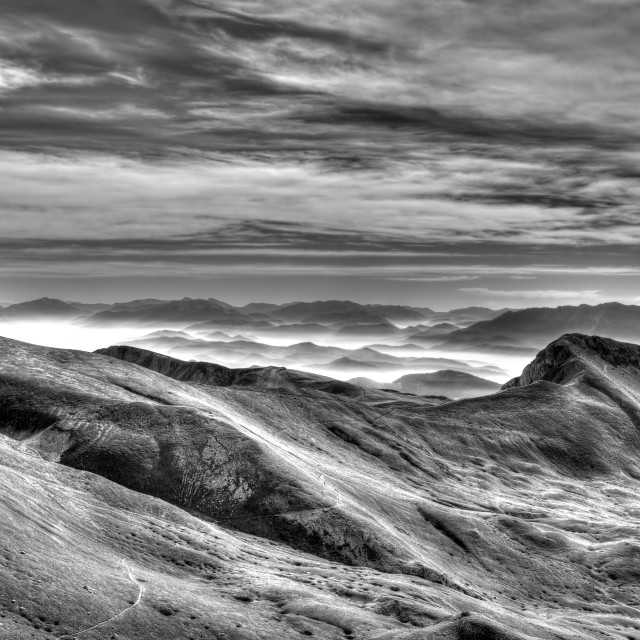 """Campo Imperatore Abruzzo Italy peaks black and white"" stock image"