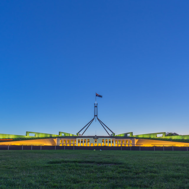 """""""Beautiful scene of sunset at Parliament House Canberra, Australi"""" stock image"""