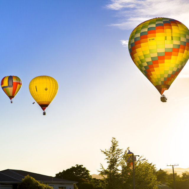 """Hot Air Balloons Over Martinborough"" stock image"