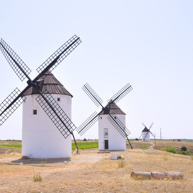"""View on three windmills at field"" stock image"