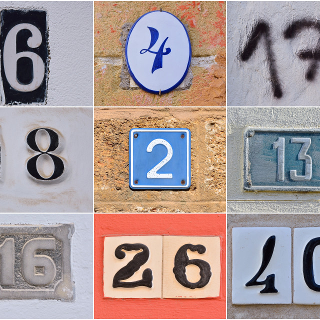 """Different house numbers."" stock image"