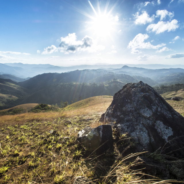 """majestic sunrise over the mountains"" stock image"