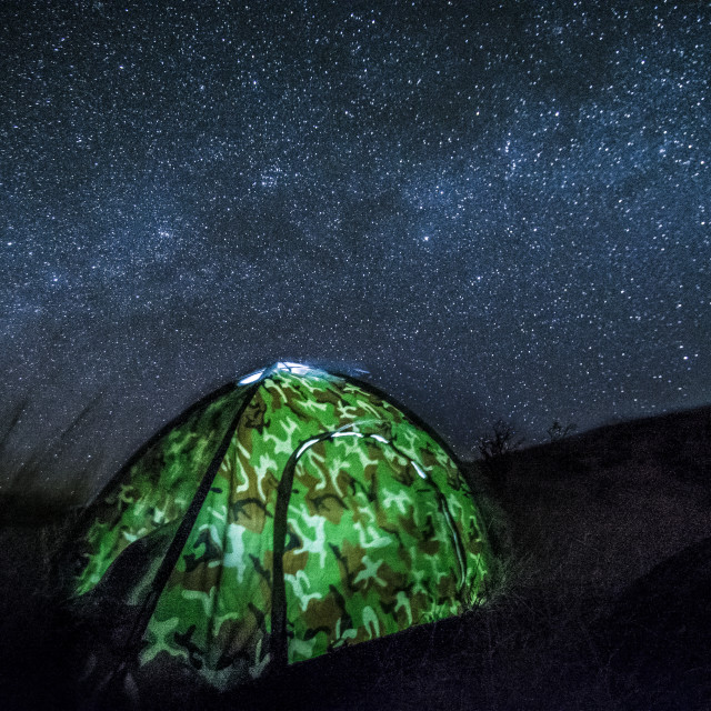 """""""Tent under the starry sky"""" stock image"""