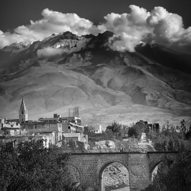 """bridged facing the volcano with clouds"" stock image"