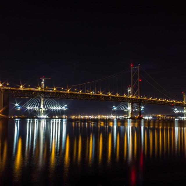 """The Bridges At Night"" stock image"