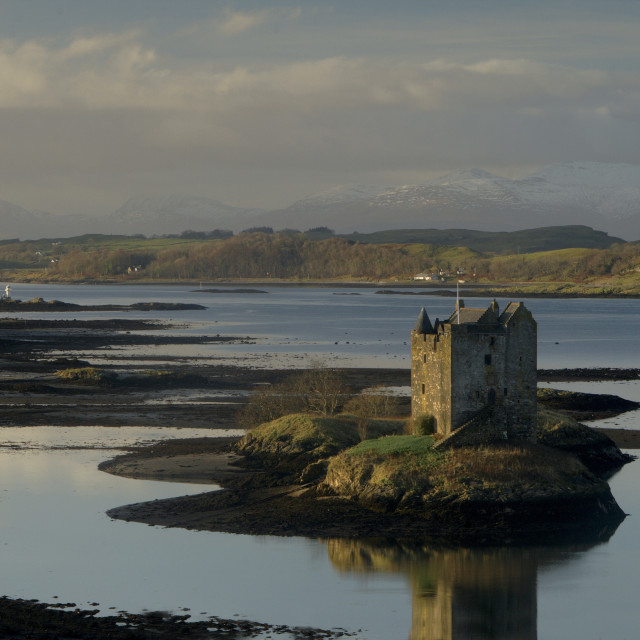 """Castle Stalker and Loch Linnhe"" stock image"