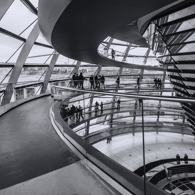 """Light and transparency inside the Bundestag Dome"" stock image"