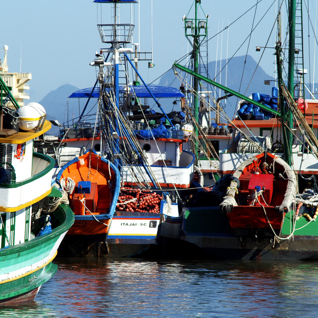 """Fishing boats at the Port"" stock image"
