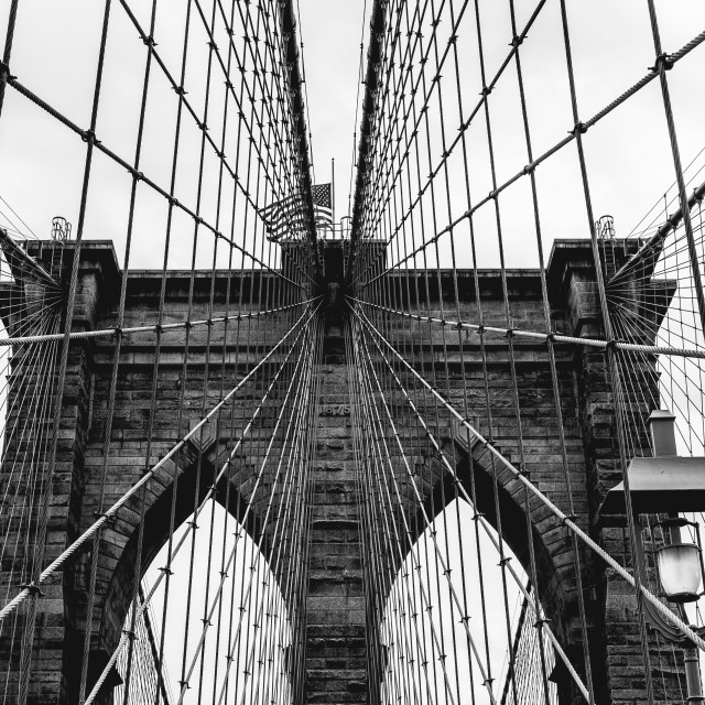 """Contrast Brooklyn Bridge"" stock image"