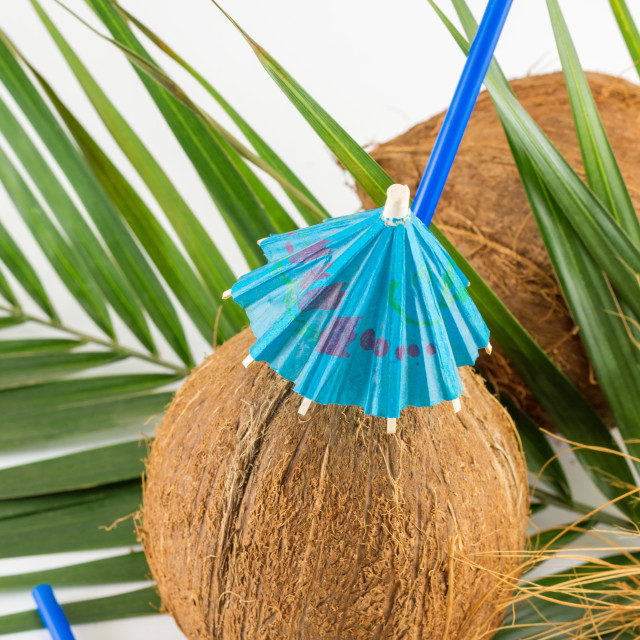 """""""Fresh coconut cocktail for the summer"""" stock image"""