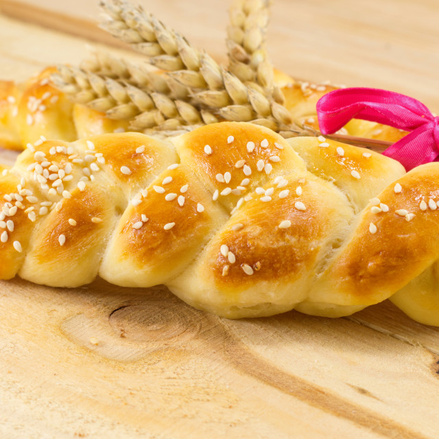 """""""Homemade braid pastry with wheat plant"""" stock image"""