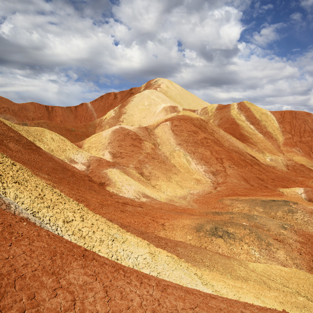 """Sweeping Paintbrush of Nature - Rainbow Mountains of the Danxia Landscape"" stock image"