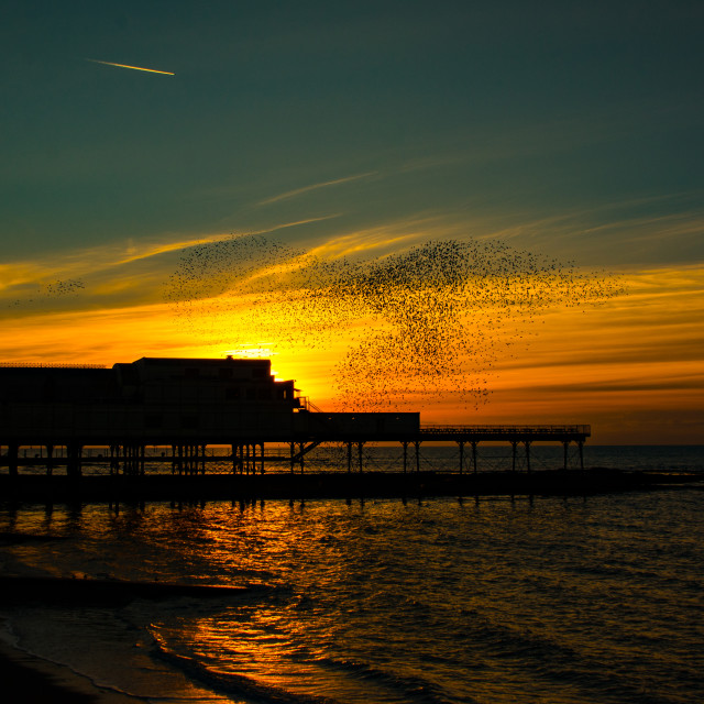 """Aberystwyth, West Wales, UK Weather:Monday 15th February A stunning end to a..."" stock image"