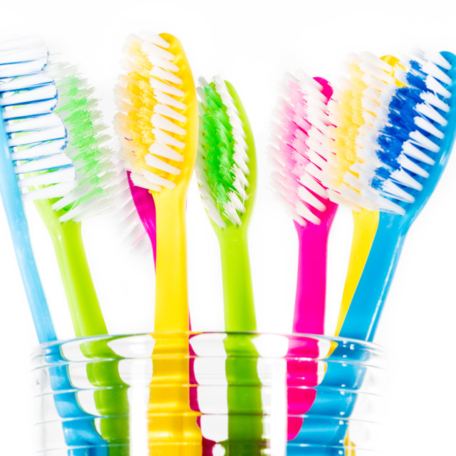 """""""Colorful toothbrushes"""" stock image"""